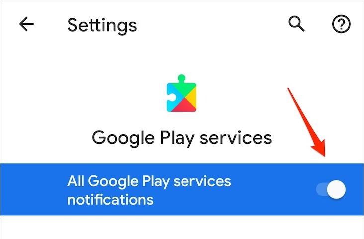 Google Play services notifications toggle