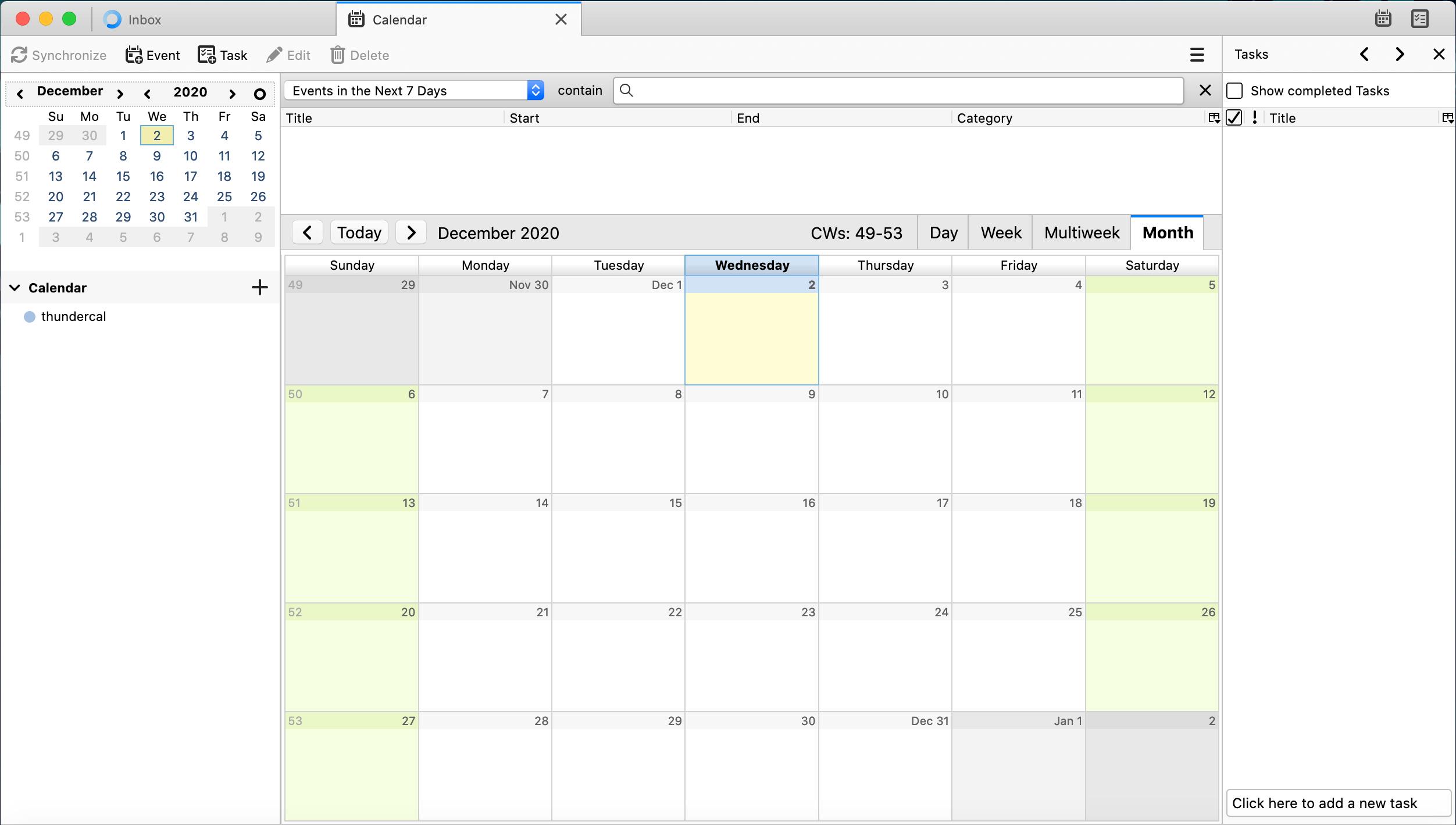 Thunderbird Lightning Calendar