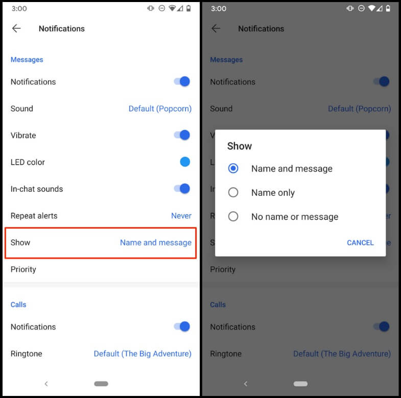 Setting up custom notification on Signal