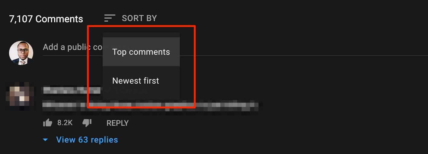 Sorting YouTube comments