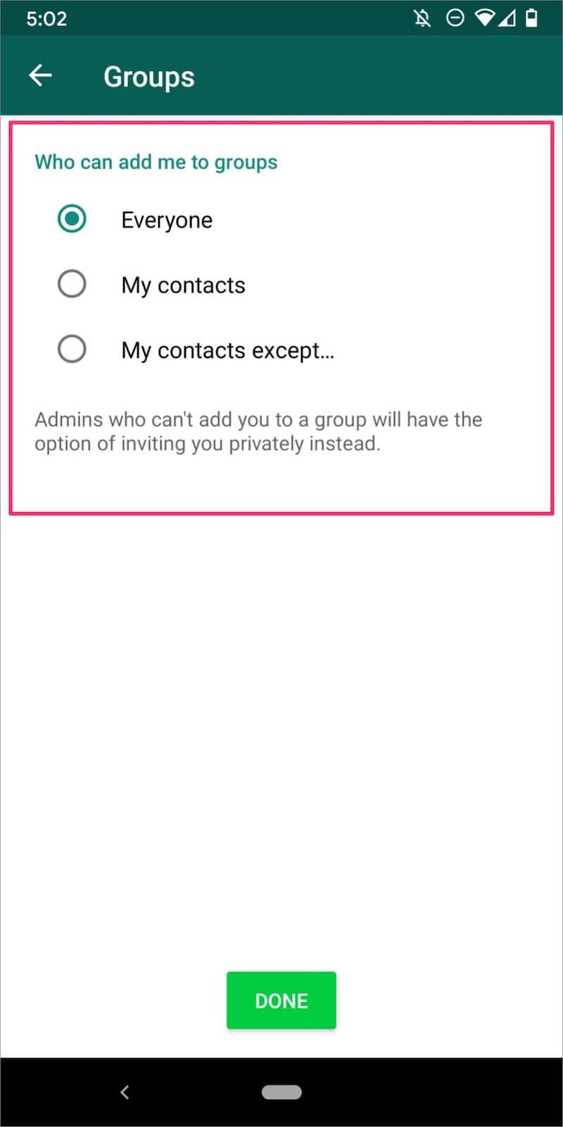 WhatsApp groups options