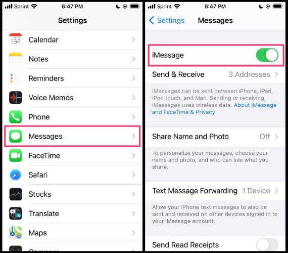 Activating iMessage on an iPhone