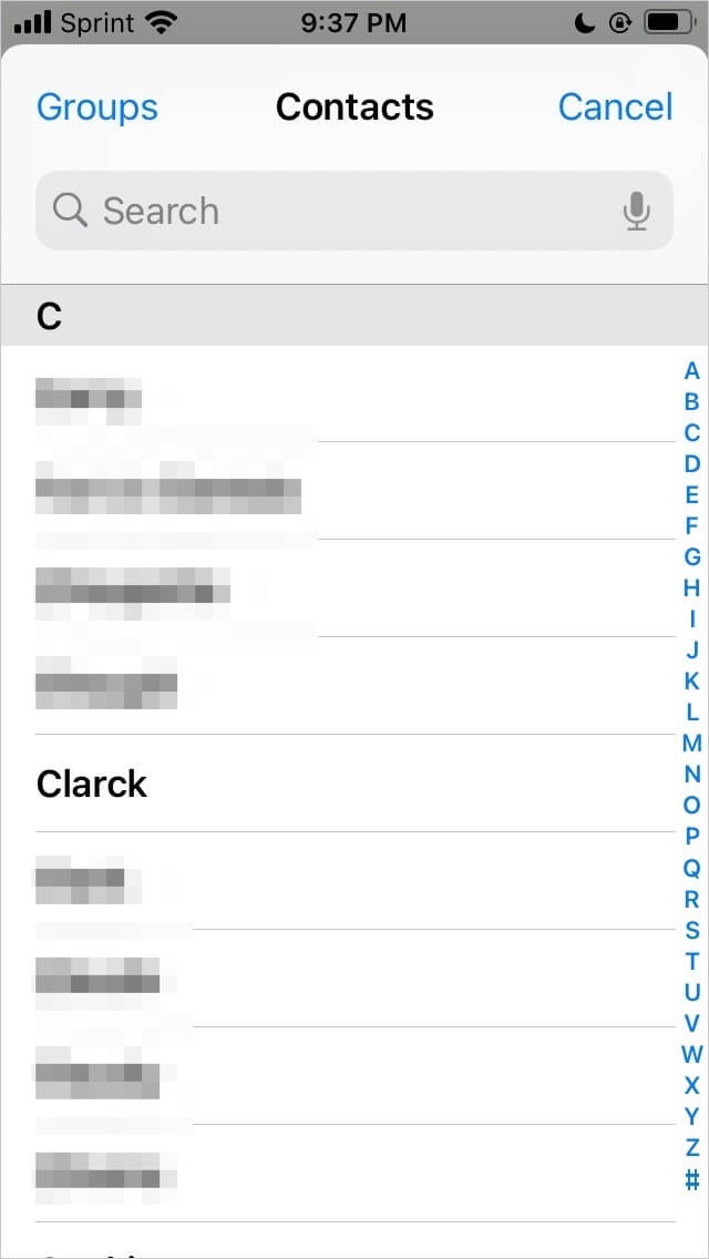 Choosing contacts for the Delayed Time iMessage shortcuts