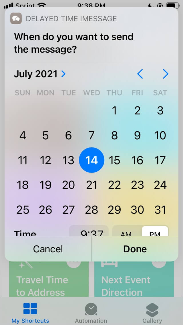 Set a date and time for the Delayed Time iMessage shortcuts