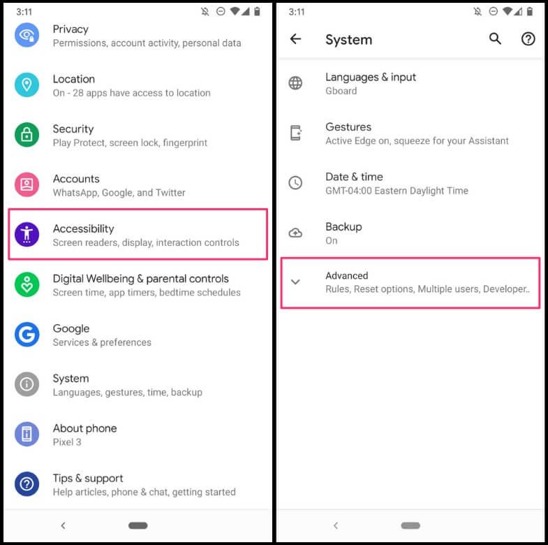 Activating Google Autofill on a Google Pixel 3