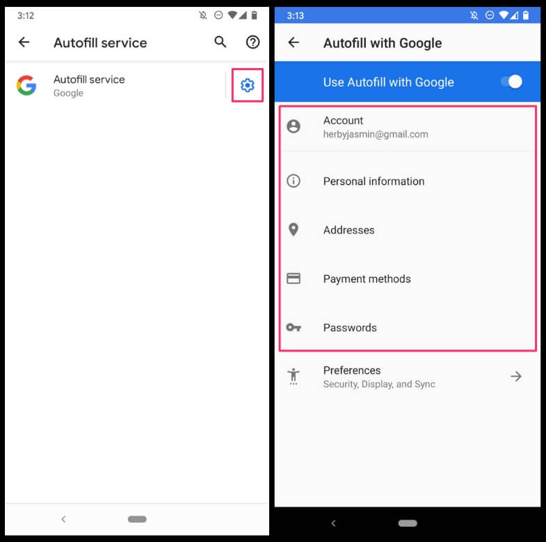 Changing Google Autofill data on Android