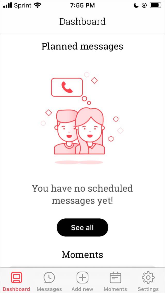 Scheduled app dashboard