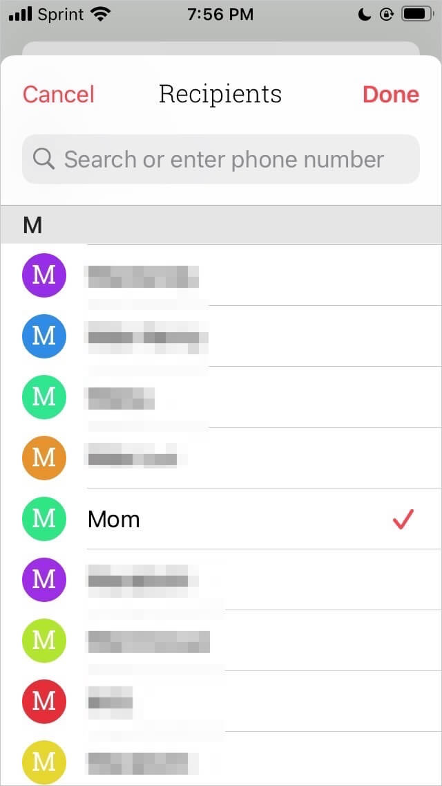 Selecting a contact to schedule a message