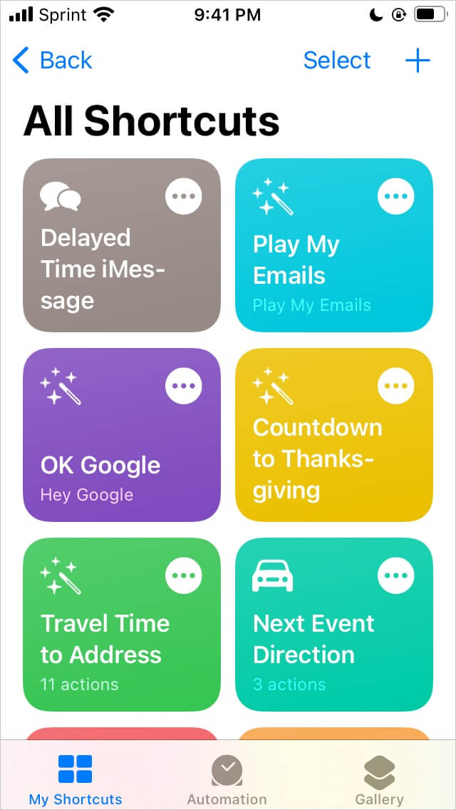 Shortcuts app dashboard