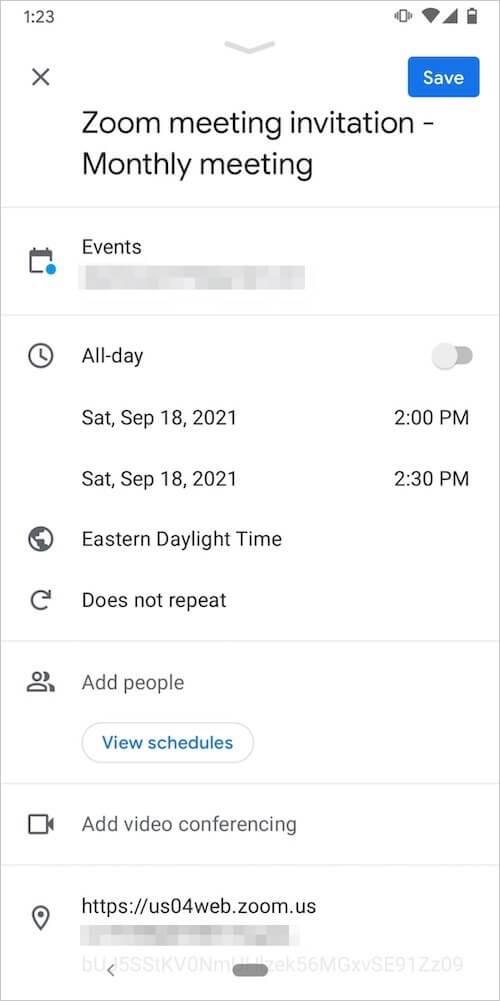 Add Zoom meeting on Google calendar