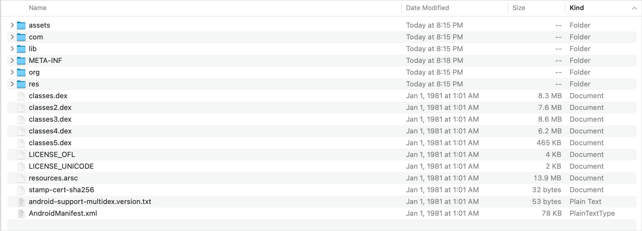APK file contents