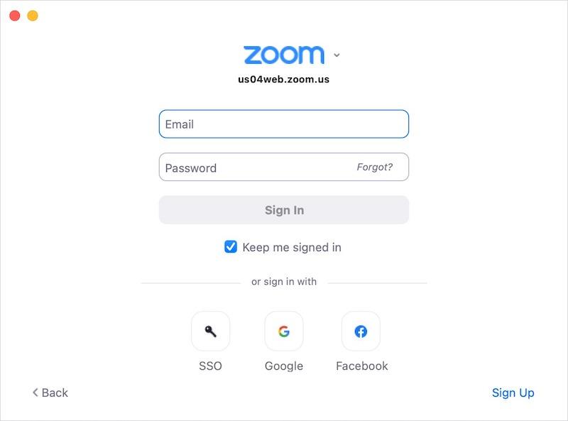 Sign into Zoom desktop app