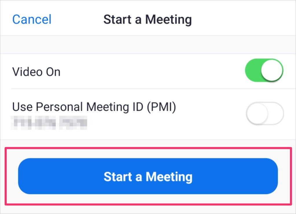 Start a new meeting on mobile app