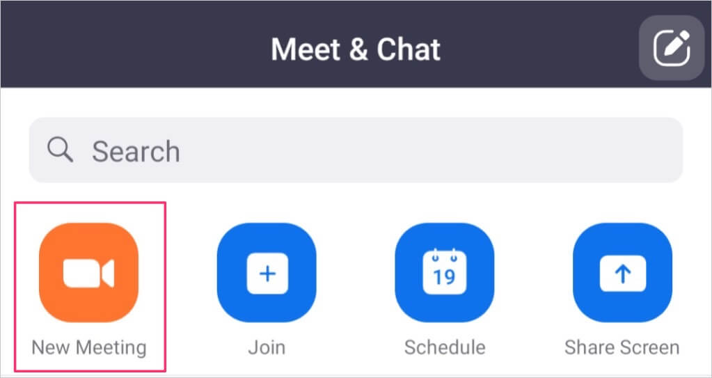 New Meeting video icon on Zoom mobile app